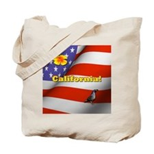 California with American Flag  Tote Bag