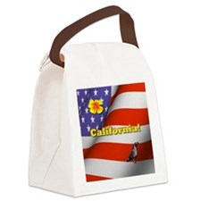 California with American Flag  Canvas Lunch Bag