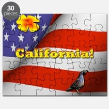 California with American Flag  Puzzle