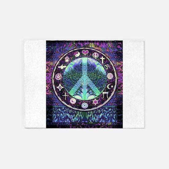 World Religions Peace 5'x7'Area Rug