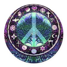 World Religions Peace Round Car Magnet