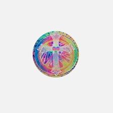 Tye Dye Cross with Heart Mini Button (100 pack)