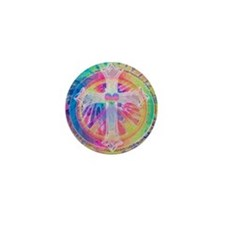 Tye Dye Cross with Heart Mini Button (10 pack)