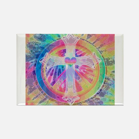 Tye Dye Cross with Heart Magnets