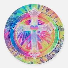Tye Dye Cross with Heart Round Car Magnet