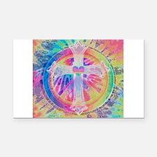 Tye Dye Cross with Heart Rectangle Car Magnet