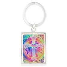Tye Dye Cross with Heart Keychains