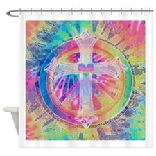 Tye Dye Cross with Heart Shower Curtain
