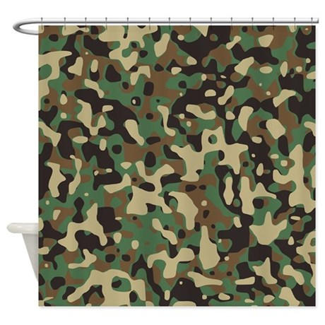 Woodland Camouflage Shower Curtain By Coolpatterns