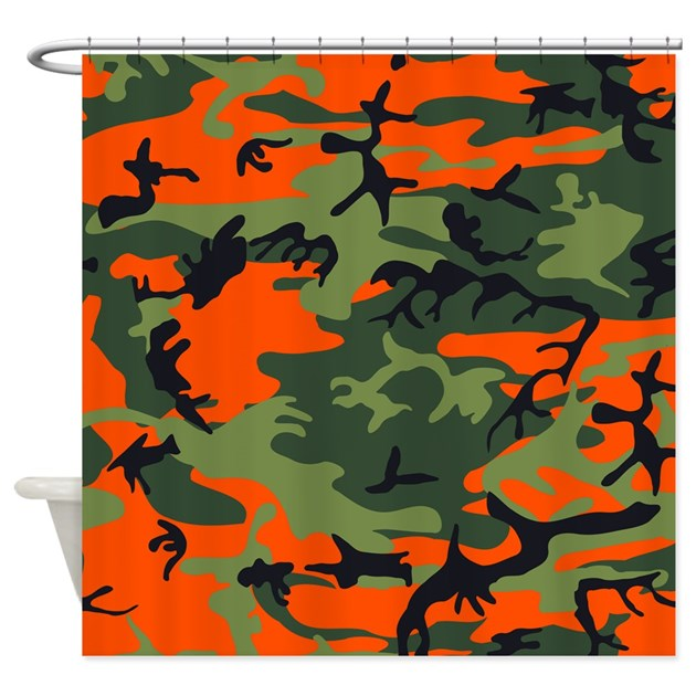 Hunter Orange Camouflage Shower Curtain By CoolPatterns