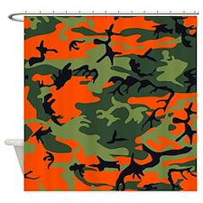Hunter Orange Camouflage Shower Curtain