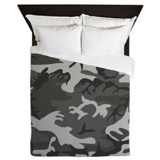 Dark Grey Camouflage Queen Duvet