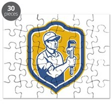 Plumber Holding Wrench Side Shield Retro Puzzle