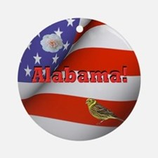 Alabama with American Flag  Round Ornament