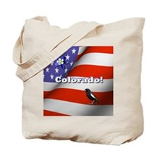 Colorado with American Flag Tote Bag