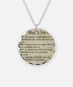 March 1st Necklace Circle Charm