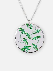 Dragonflies Neon Green Necklace