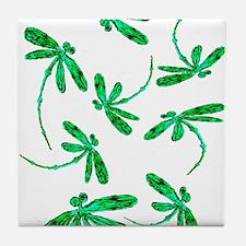 Dragonflies Neon Green Tile Coaster