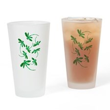 Dragonflies Neon Green Drinking Glass