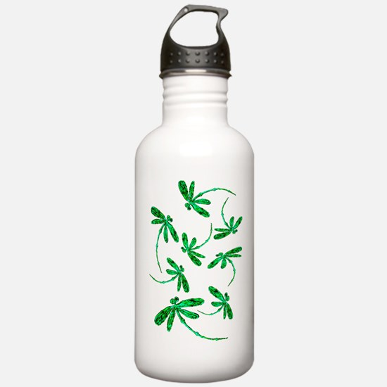 Dragonflies Neon Green Sports Water Bottle