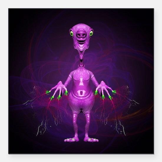 Fun Pink Alien Telepathic Power Square Car Magnet