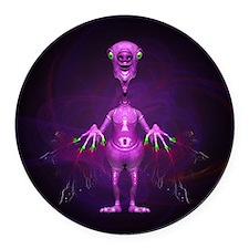 Fun Pink Alien Telepathic Power Round Car Magnet