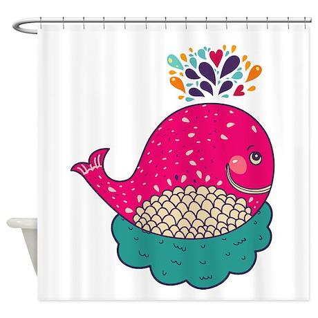 Cartoon Whale Shower Curtain By WonderfulAnimals