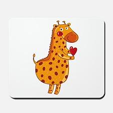 Valentines Day Giraffe Mousepad
