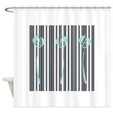 Art Deco Mint Green Floral Black Stripes Shower Cu