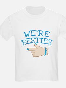 WERE BESTIES hand pointing Left in blue BEST FRIEN