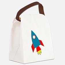 Cartoon Rocket Ship Canvas Lunch Bag