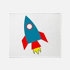 Cartoon Rocket Ship Throw Blanket