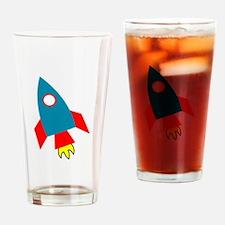 Cartoon Rocket Ship Drinking Glass
