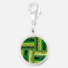 GREEN PATCHWORK Silver Round Charm