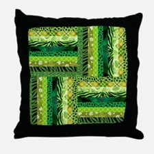 GREEN PATCHWORK Throw Pillow