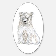 Chinese Crested Powder Puff Oval Decal