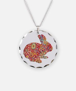 Colorful Floral Easter Bunny Necklace