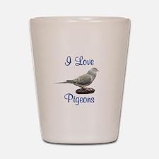 I Love Pigeons Shot Glass
