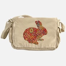 Colorful Floral Easter Bunny Messenger Bag