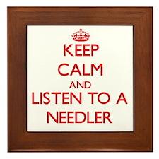 Keep Calm and Listen to a Needler Framed Tile