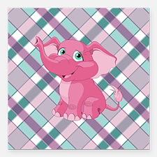 "PINK ELEPHANT Square Car Magnet 3"" x 3"""