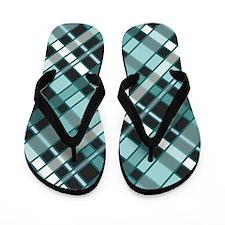 TEAL PLAID Flip Flops