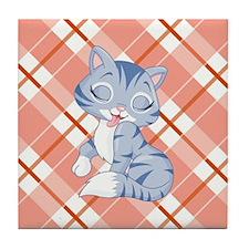 PREENING KITTY Tile Coaster