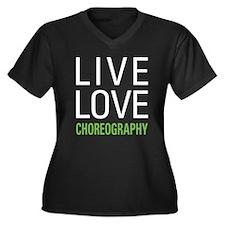 Live Love Ch Women's Plus Size V-Neck Dark T-Shirt