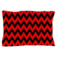 Red and Black Chevron Pillow Case