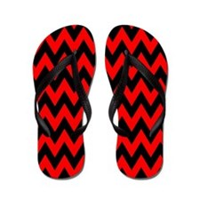 Red and Black Chevron Flip Flops