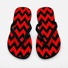 Red and Black Chevron Flip Flops