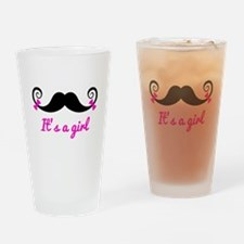 its a girl, mustache with pink bows Drinking Glass