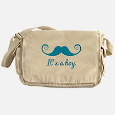 its a boy design with blue mustache Messenger Bag