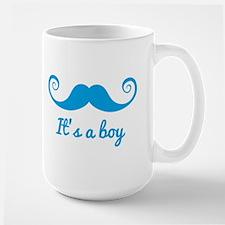 its a boy design with blue mustache Mugs